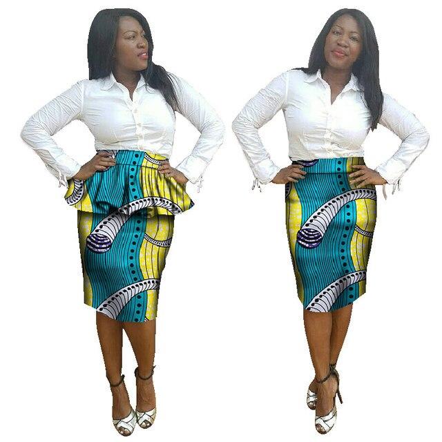 Ankara Fashions Afeican Women Clothing African Print Skirts Ankara Crop Top Knee Length Midi Kitenge Pencil Skirts BRW WY955