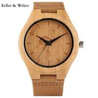 KW Tier Muster Bambus Männer Uhren Trendy Heißer Lederband armband Armbanduhr Natureal Kran/Katze/Hund moderne Geschenk