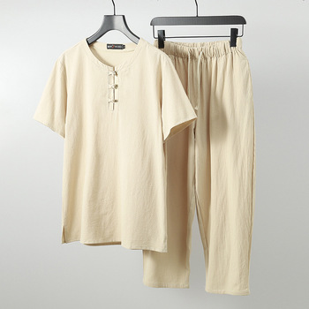 Men linen solid Tops Tees sets T-shirts New Arrival Summer solid T shirt plus size M-9XL o-neck short sleeve  two-piece suits