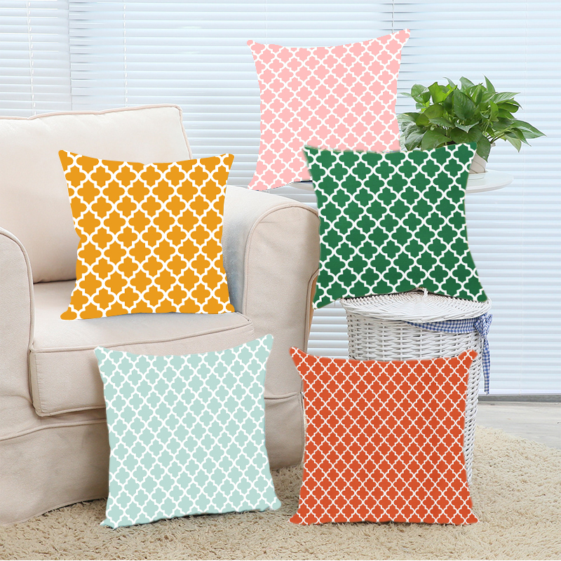 Pink Lemon Mint Green Orange and White Moroccan Pattern Square
