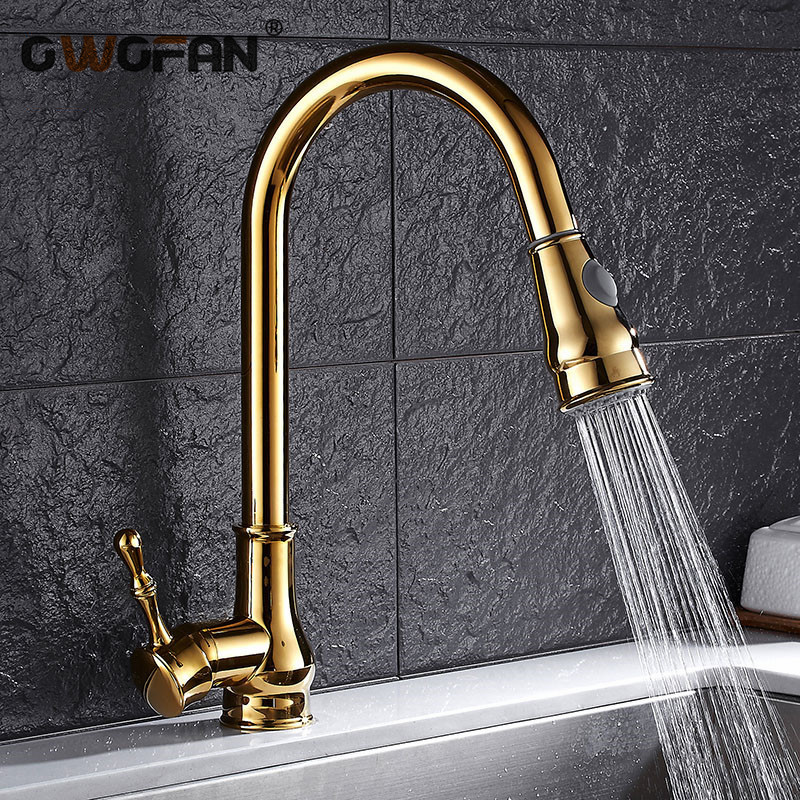 Kitchen Faucet Gold High Arch  Sink Faucet Kitchen Pull Out Rotation Spray Mixer Tap  Grifo Cocina OWO-9101K