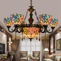 Tiffany barroco flor de carne vitrais suspendido luminária e27 110-240 v corrente pingente luzes para sala de jantar casa