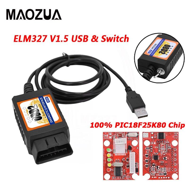Maozua OBD2 ELM327 V1 5 USB Switch OBD Scanner for Focus ELM327 V1 5 Modified Open Hidden for Ford Forscan HS-CAN MS-CAN