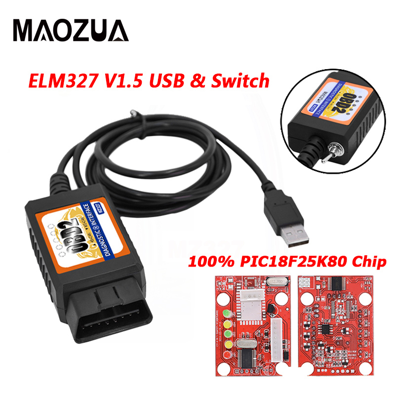 Maozua OBD2 ELM327 V1.5 interruptor USB OBD escáner para enfoque ELM327 V1.5 abierto modificada oculto para Ford Forscan HS-CAN/ MS-CAN