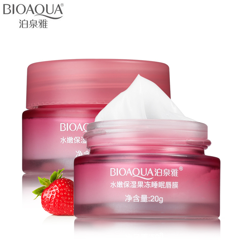BIOAQUA Brand Strawberry Lip Sleeping Mask Skin Care Exfoliator Lips Balm Moisturizing Nourish Lip Plumper Hydrating Cream 20g