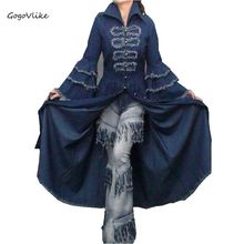 Maxi floor length jean trench 2017 women personality vintage denim tassel flare sleeve slim expansion bottom denim dress S15