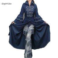 Maxi floor length jean trench 2017 women personality vintage denim tassel flare sleeve slim expansion bottom denim dress S15