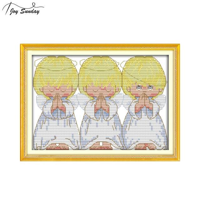 Cầu nguyện Thiên Thần Nhỏ Đeo Chéo Bằng Tay DIY Dòng Thêu Mini Thiên Thần Cho Trẻ DMC 11CT 14ct In Canvas Bộ Kim Chỉ Bộ
