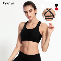 Vertvie Racerback Sports Bra Women Sexy Backless Padded Push Up Bra For Jogging Shakeproof Gym Fitness