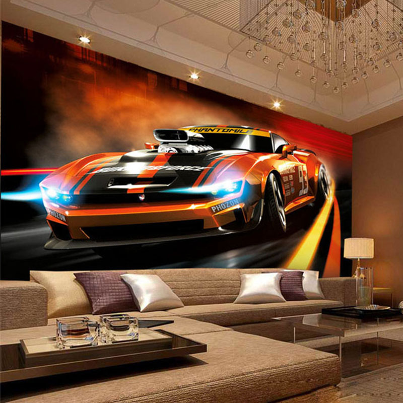 Racing Car Bedroom Wallpaper Photo Wallpaper Modern Creative Yellow Sport Car 3d Stereo