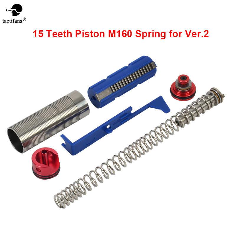 15 dentes Pistão/Cilindro/Cilindro/Pistão Cabeça/Guia Da Mola/Tappet Plate Airsoft AEG Sintonia up Kit De Torque para M4 160 Primavera
