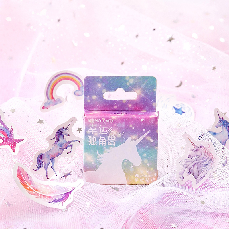 46pcs /Box Dream Starry & Unicorn Adhesive DIY Sticker Stick Label Notebook Album Diary Decor