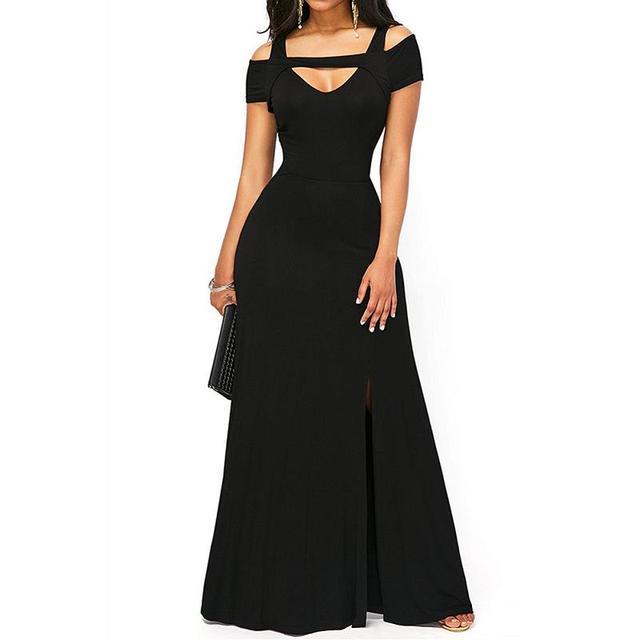 2018 Summer New Sexy Plus Size Women Party Club Dresses Cut Out Cold  Shoulder Front Slit Flare Maxi Dress LC61752 vestido longo 502051ac5b01