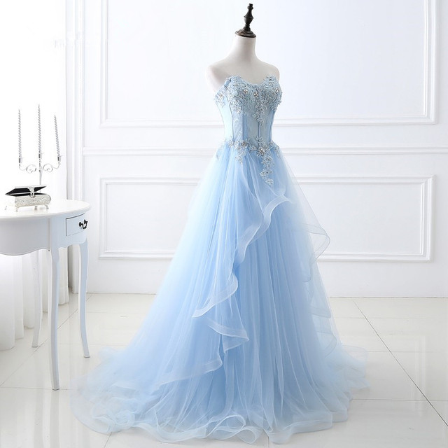 Фото роскошные светильник голубые длинные вечерние платья без рукавов цена