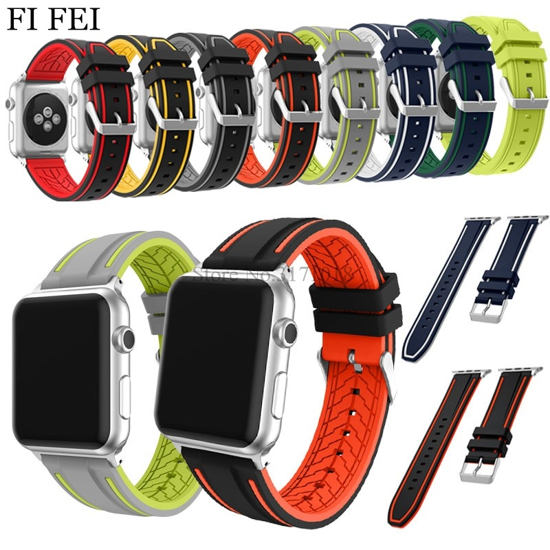 FI FEI Band For Apple Watch Series 1/2/3 38mm 42mm Fashion Sport Strap 38 42 mm Soft Silicone Replacement WatchBands + Adapters silicone women men watch band watchband replacement strap for suunto elementum terra series watchbands