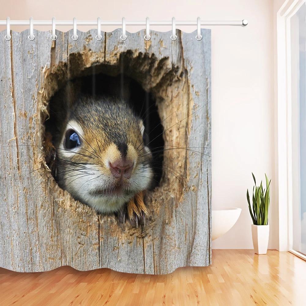 3d cute animal squirrel wood shower curtain sets with hooks bathroom bath curtains waterproof fabric for kids bathtub decor