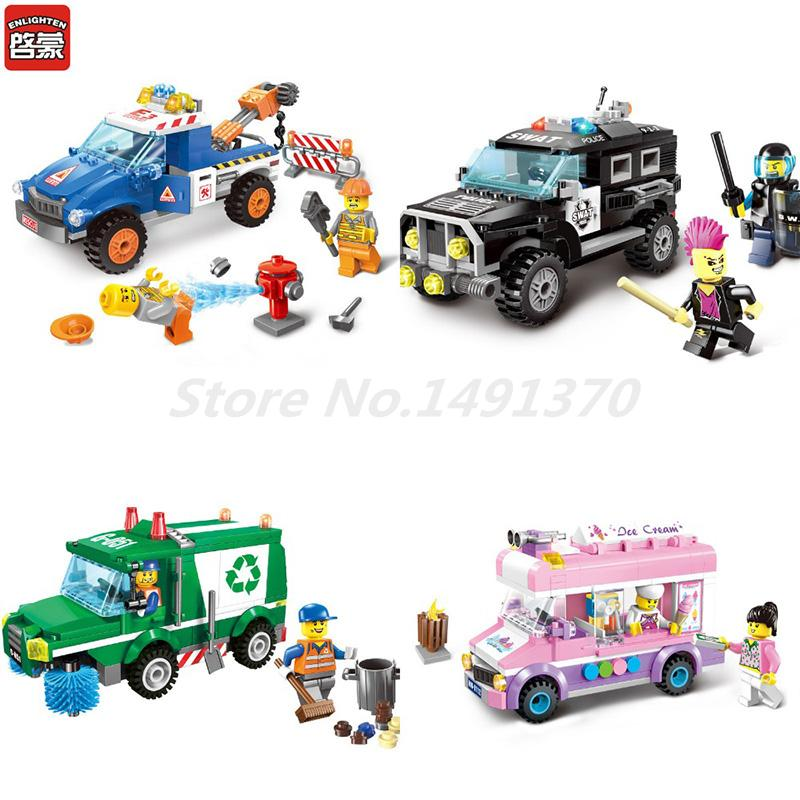 ENLIGHTEN City Series Car Truck Wrecker Police Sanitation Ice Cream Figure Building Blocks Sets Bricks Model Kids Gifts Toys kaygoo building blocks aircraft airplane ship bus tank police city military carrier 8 in 1 model kids toys best kids xmas gifts