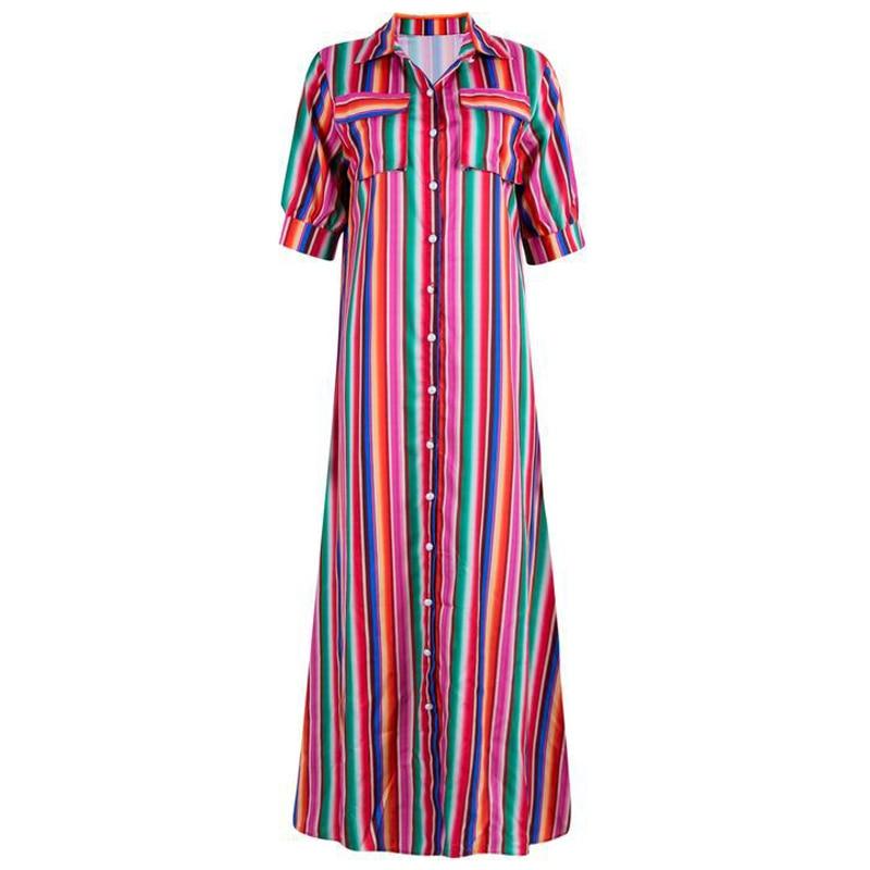European Style Summer Women Dress Plus Size XXXL Casual Female Suit Shirt Dresses Striped Print Women's Dress Long In Stock B564