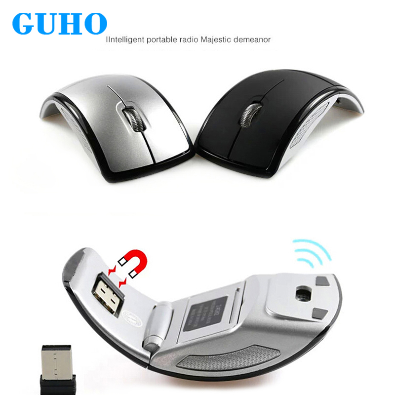GUHO plegable ratón inalámbrico 2,4g ratones de juego del ratón del ordenador portátil Mute Mini ratones Nano receptor USB para Gamer PC portátil