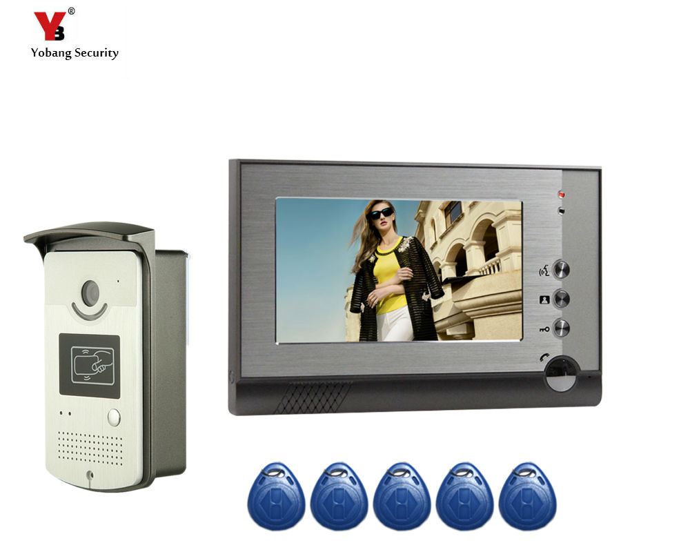 Yobang Security 7 LCD monitor Speakerphone Video intercom Color Video Doorbell Phone 5 pcs RFID card open the door bell