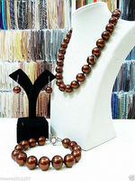 Hot selling free shipping***** Big 14mm round chocolate South Sea Shell Pearl Necklace Bracelet Earring Set New