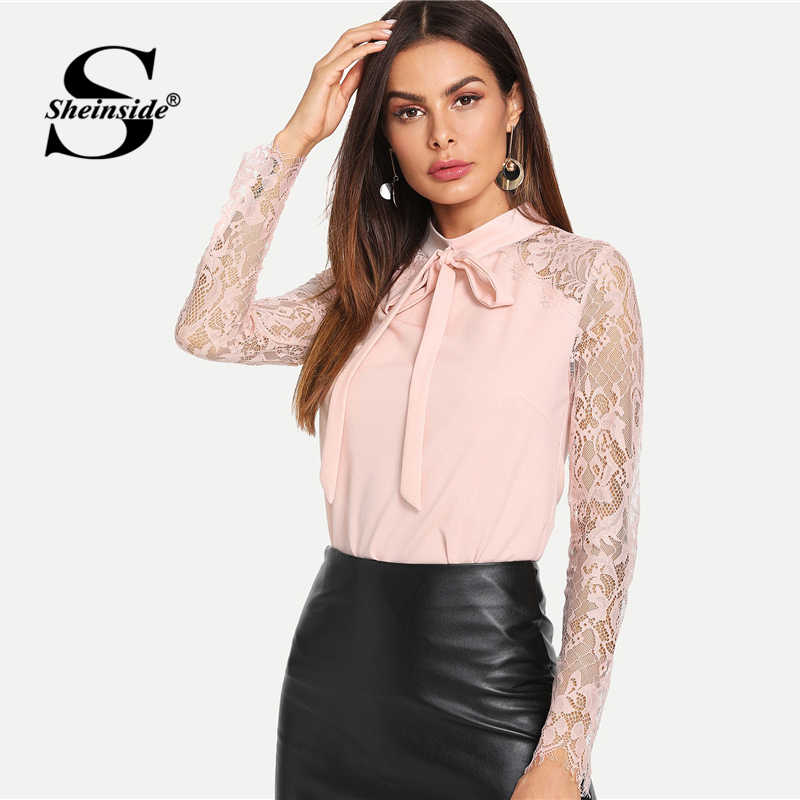 4c2b911845 ... Sheinside Pink Women Blouse Tie Neck Lace Sleeve Fitted Top Office  Ladies Long Sleeve Shirt 2018 ...