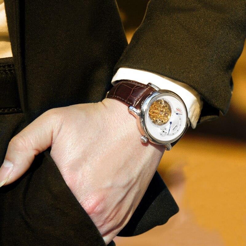 Nesun Элитный бренд Для мужчин полые Tourbillon Watch automatic механические моды Наручные часы сапфир Водонепроницаемый Relogio Masculino