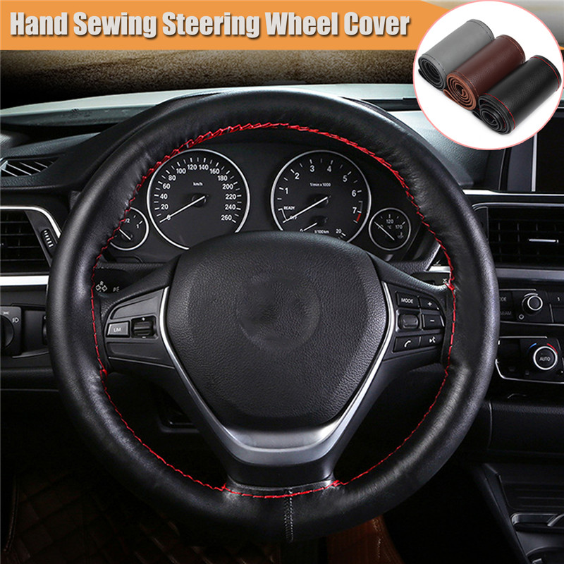 38cm PU Leather Car Auto Steering Wheel Cover DIY Hand Sewing Smooth With Thread Steering Covers Interior Accessories