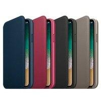 Şık Tasarım Katı Renk Telefon Kılıfı Çevirme Tipi Yumuşak PU Deri Tam Koruyucu Kılıf Kapak iPhone için Uygun X