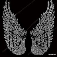 bigsize wing motif rhinestones fix iron on Rhinestone transfer heat beads patch applique clothing decoration patches