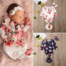 Спальный мешок с цветочным принтом для новорожденных девочек, пеленка для сна+ повязка на голову, комплект для малышей 0-12 месяцев, спальные мешки, комбинезоны, одежда