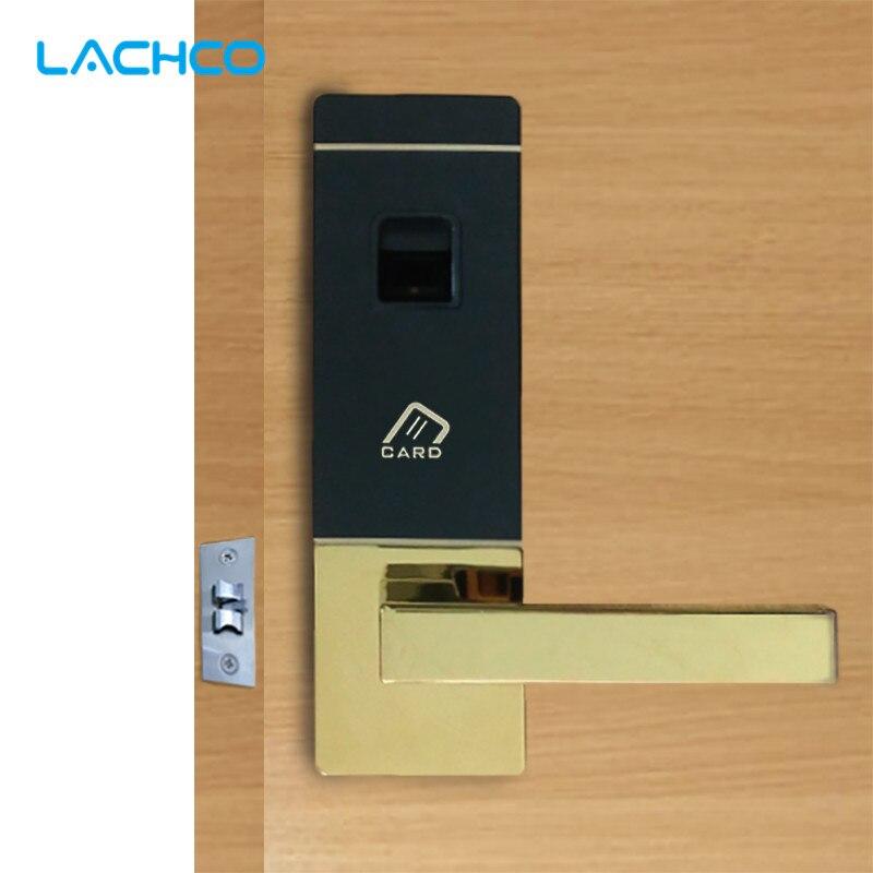 LACHCO Biometric Electric Door Lock Digital Smart Fingerprint , 4 Cards, 2 Keys, Intelligent Smart Entry Deadbolt  L16091SG
