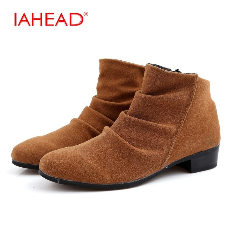 IAHEAD Chelsea font b Boots b font Men Slip On Fashion Casual Shoes Men Winter font