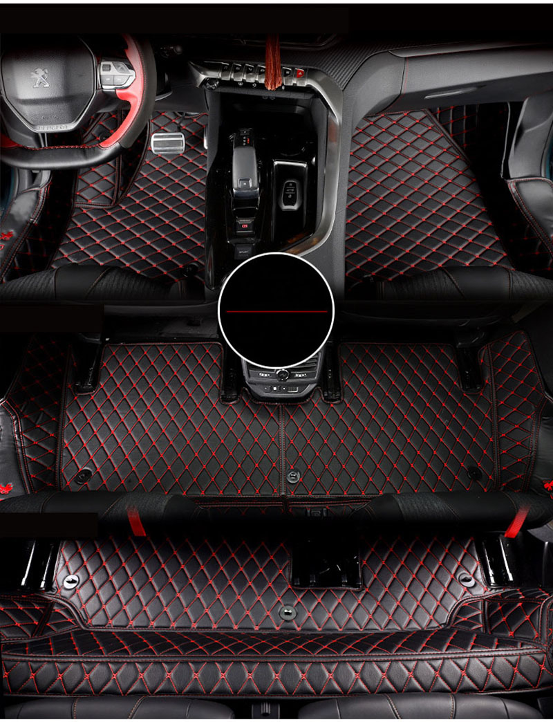 lsrtw2017 fiber leather car interior floor mat and trunk mat for peugeot 5008 2017 2018 2019 2nd generation for mazda cx 5 cx5 2nd gen 2017 2018 interior custom car styling waterproof full set trunk cargo liner mats tray protector