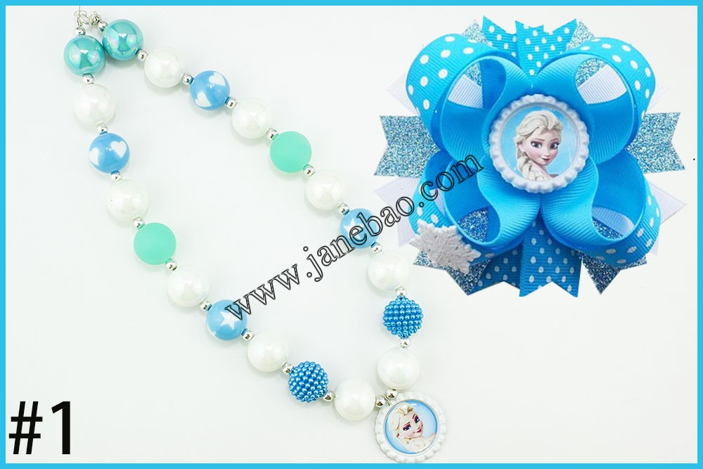 Image 2 - free shipping 10set Cartoon princess chunky bubblegum kids  necklace  and character hair bows 4.5 girl hair clipsgirls hair  clipshair clipgirls hair