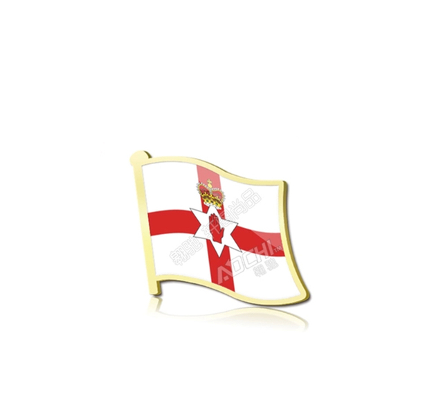 2 Pcs Gold Plated National Flag Of Northern Ireland Collar Badge