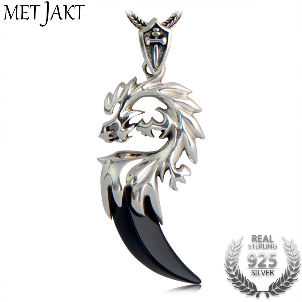 MetJakt 925 Sterling Silver Dragon Head Pendant with Natural Agate Crescent & Silver Snake Chain Necklace Suitable for Men chic style rhinestone crescent decorated cuboid shape pendant necklace for men