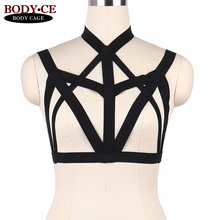 Womens Sexy Body Harness Lingerie Punk Goth Bondage Bra Elastic Strappy Tops Cage Bustier Fetish Burlesque dance Dress Rave Wear
