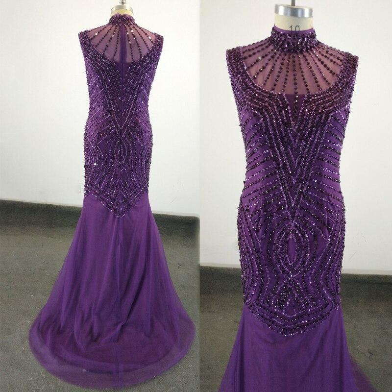 Элегантное Русалка вечернее платье хрустальные бусины фиолетовый нарядные платья для свадьбы халат de Soiree Longue
