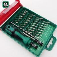 O envio gratuito de 33 em 1 multifunções ferramentas de bolso kit precisão caixa ferramenta magnética chave fenda conjunto reparo do telefone