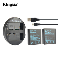 KingMa 2Pcs 1600mAh BLH 1 BLH1 BLH 1 Replacement Battery and Dual Micro USB Charger for Olympus E M1 Mark II Camera