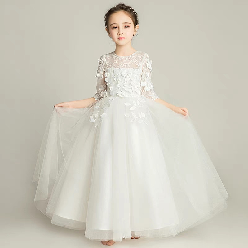 2018New Children Girls Half Sleeves Snow-white Color Appliques Flowers Birthday Wedding Party Lace Dress Kids Teens Piano Dress green crew neck roll half sleeves mini dress