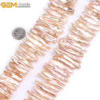 Gem Inside Natural Pink White Purple Stick Point Biwa Freshwater Cultured Luster Pearls Beads For Jewelry