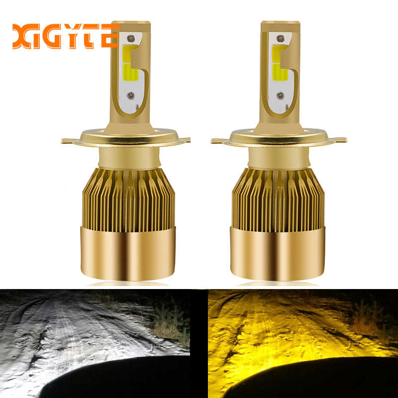 d11b28d8b43 2 шт. фар автомобиля H4 светодио дный H7 светодио дный лампы 3000 К 6000 К