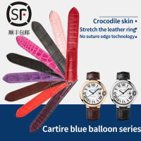 Crocodile leather strap is suitable for Cartire blue balloon watch with crocodile skin for men and women 14/16/18MM