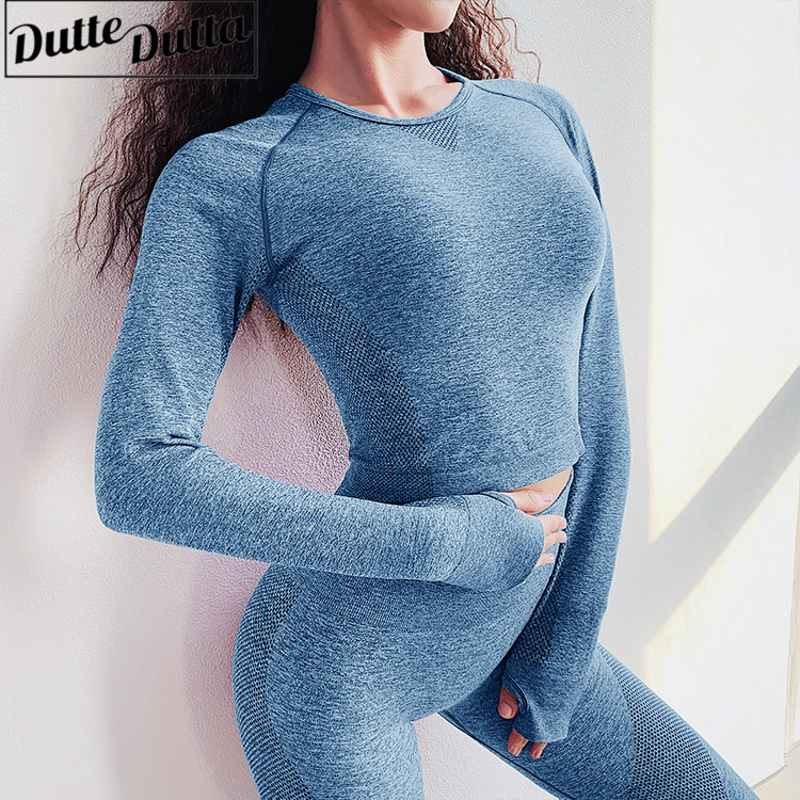 Vital Seamless Sport Shirts Long Sleeve Shirt Women Crop Top Yoga Sport T-shirt Workout Tops Sports Wear For Women Gym Fitness