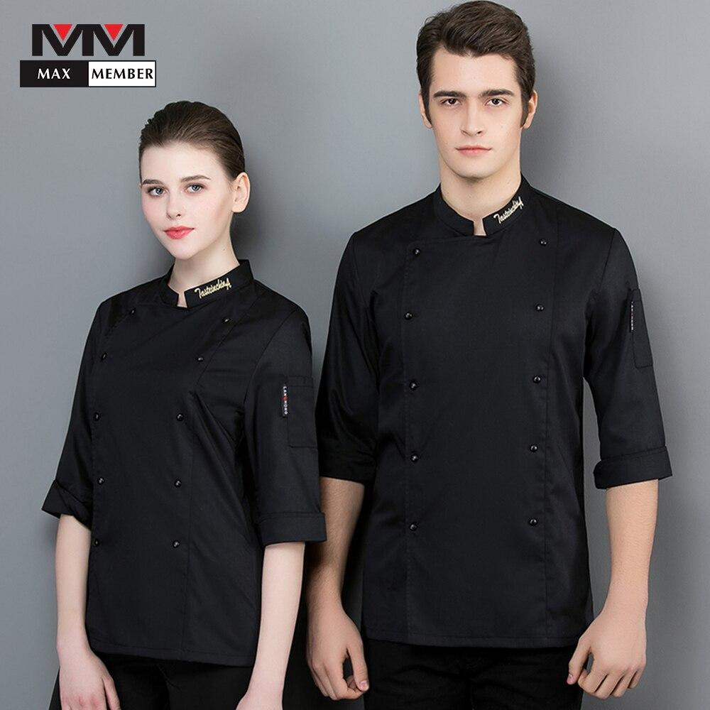 2019 High Quality Hot Sale Unisex Kitchen Chef Restaurant Uniform Shirt Breathable Seven-quarter Sleeve Chef Suit Works Uniforms