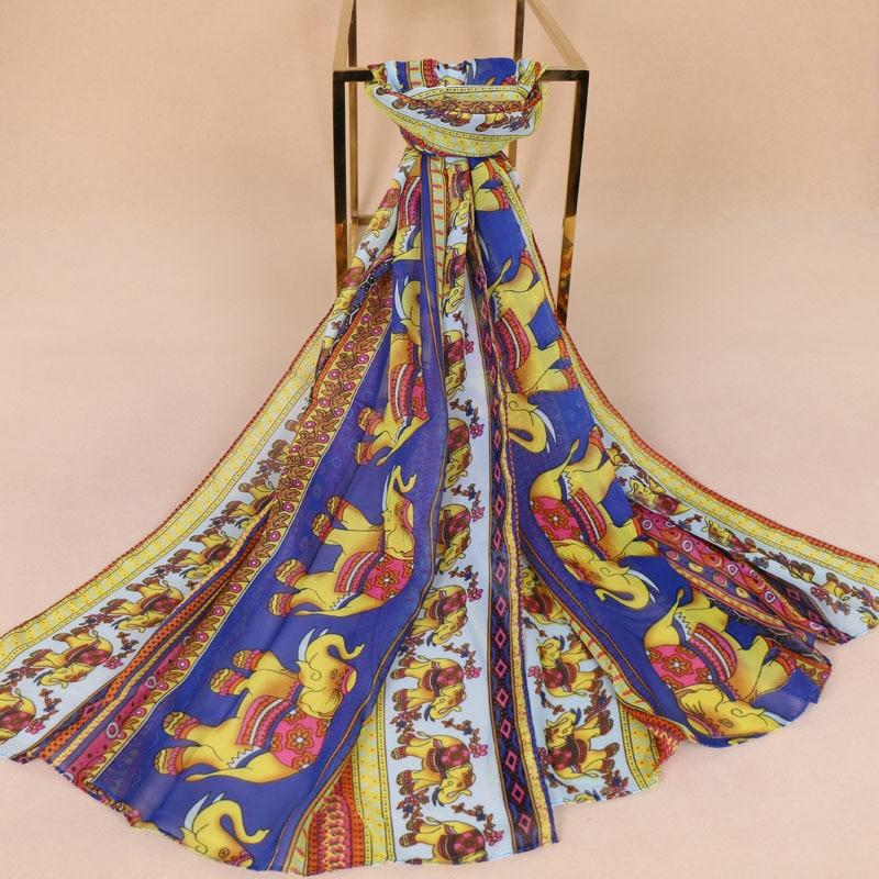 8 Color Shawls Spring Thin Chiffon Silk Women Scarf Animal Pattern Fashion Shawls Elephant Print Autumn Muffler/ Hijab 10pcs/lot