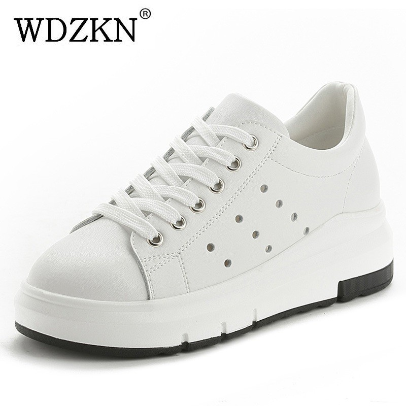 WDZKN New Arrival Women Casual Shoes Spring Autumn Comfortable Breathable Genuine Leather Flat Platform Women Shoes HC1803 aokang 2017 new arrival women flat genuine leather shoes red pink white women shoes breathable and soft free shipping