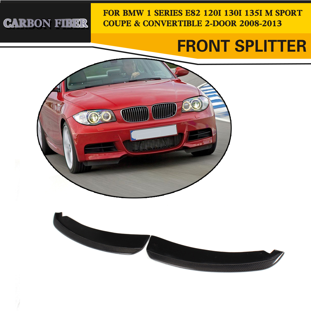 Carbon Fiber Front Bumper Splitters Side Aprons For BMW 1 Series E82 Coupe Convertible 2-Door Only 2007-2013